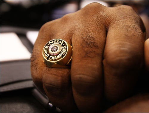 Glenn McDonald sometimes wears his NBA Championship ring. 'My wife and daughter told me to wear it tonight,' he said. 'It's an old-school, traditional championship ring. No bling-bling, which I really appreciate.' 'I'm proud to have it. But I don't go around saying, 'Hey, I played for the Celtics.' That's just not me.'