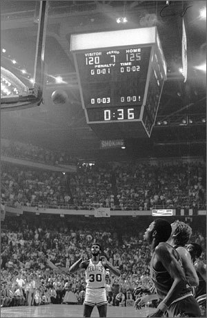Glen McDonald hit two free throws that sealed the Celtics' victory over the Suns in a triple-OT thriller in the 1976 finals. 'One thing I do remember, I didn't hear nothing,' McDonald said. 'I mean, I saw people moving. I saw people's mouths moving, but the whole arena was completely silent. All I kept saying to myself was, 'I don't miss free throws. I don't miss free throws.' He made both and the Celtics held on to win 128-126.