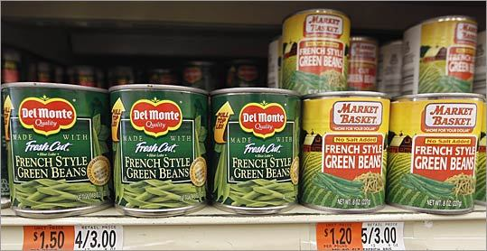 Green beans 8-ounce can Brand-name price: 75 cents Generic price (Market Basket): 60 cents Difference: 15 cents