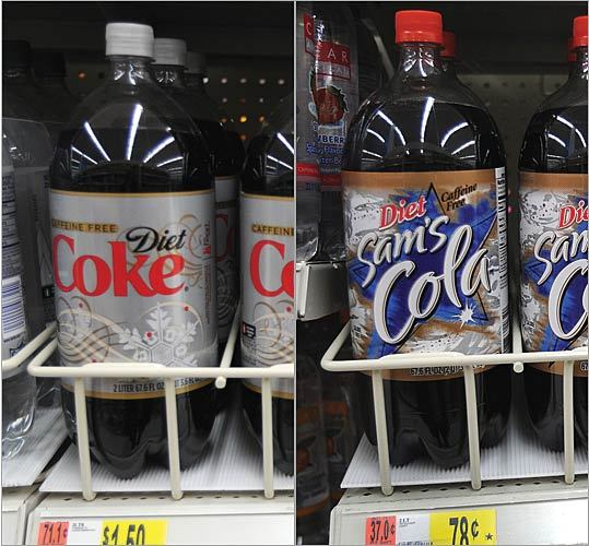 Diet cola 2-liter bottle Brand-name price: $1.50 Generic price (Wal-Mart): 78 cents Difference: 72 cents