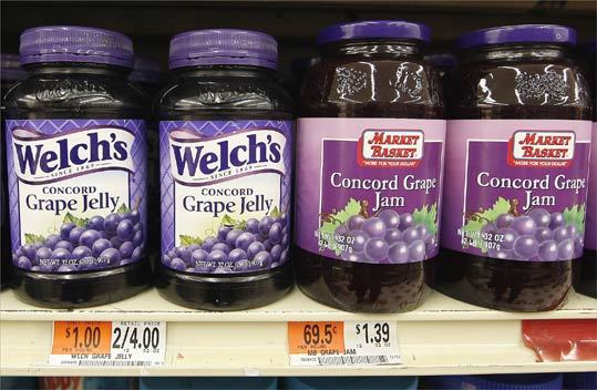Grape jelly 32-ounce bottle Brand-name price: $2.00 Generic price (Market Basket): $1.39 Difference: 61 cents