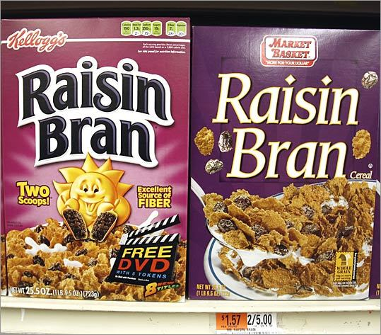 Raisin Bran 25.5-ounce box Brand-name price: $3.39 Generic price (Market Basket): $2.50 Difference: 89 cents