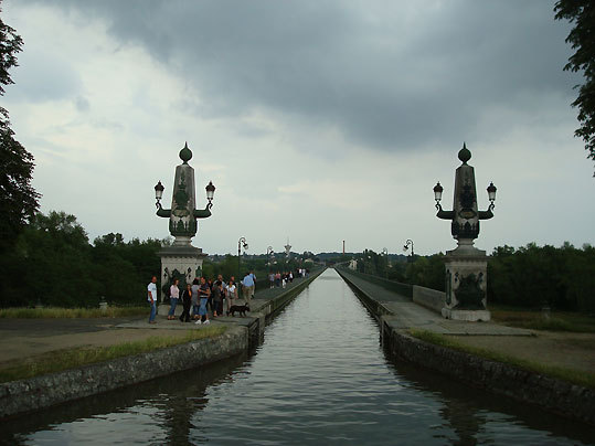 The Pont-canal de Briare, an aqueduct bridge at Briare, that carries canal barges high above the Loire River.