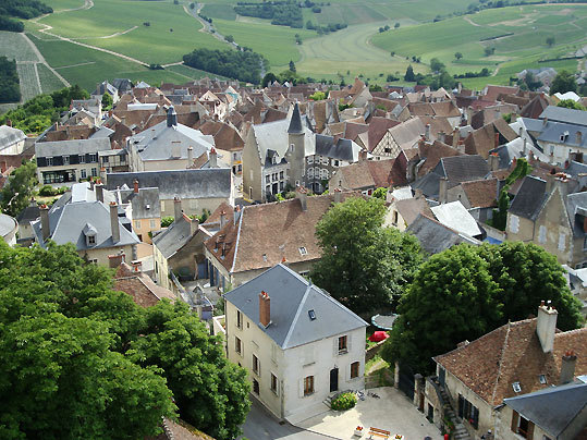 From the top of the 16th-century Belfry of St. Jean, a view of the twisting streets of Sancerre, a hilltop winemaking town along the Loire.