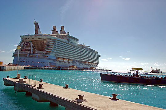 The Oasis of the Seas in the harbor at Philipsburg, St. Maarten.