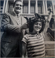 Jacqueline Gareau belatedly received her laurel wreath from Governor Ed King in 1980 after Rosie Ruiz was disqualified for cheating.