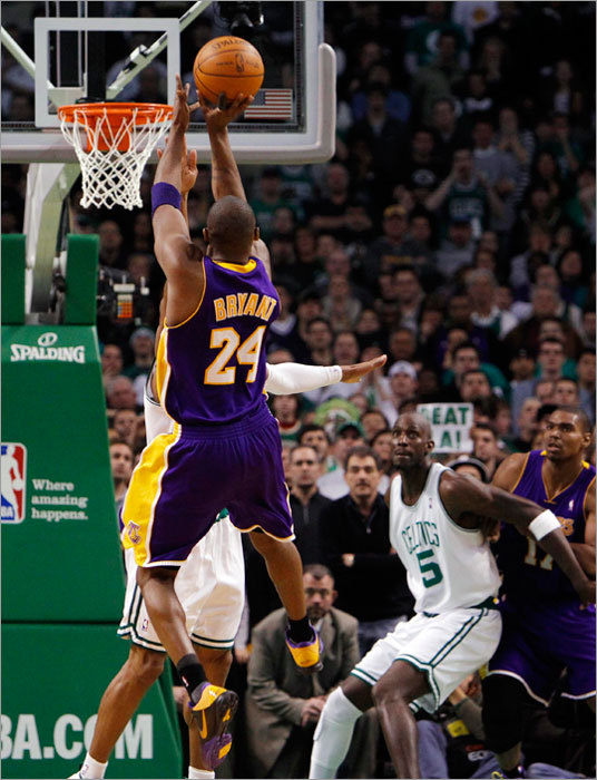 Kobe Bryant pulled up for the game-winning shot and connected with 7.3 seconds left Sunday to give the Lakers a 90-89 victory over the Celtics. Bryant's shot was the first time the Lakers led in the second half.
