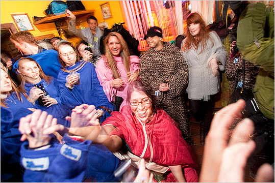 Another shot of Nancy Resteghini in the center of the Snuggie Dance-off.
