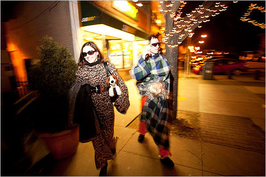Two Snuggie crawl participants wanting only to be known as 'Jayla Sevrin' and 'Bronco Billy' walked from the Independent to Precinct in Union Square.