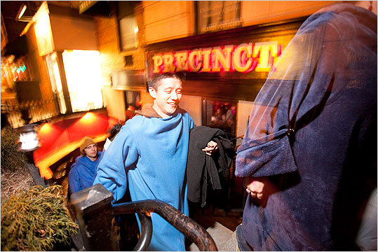 Snuggie-clad participants, including Andy Wu, walked from Precinct to P.A.'s Lounge.