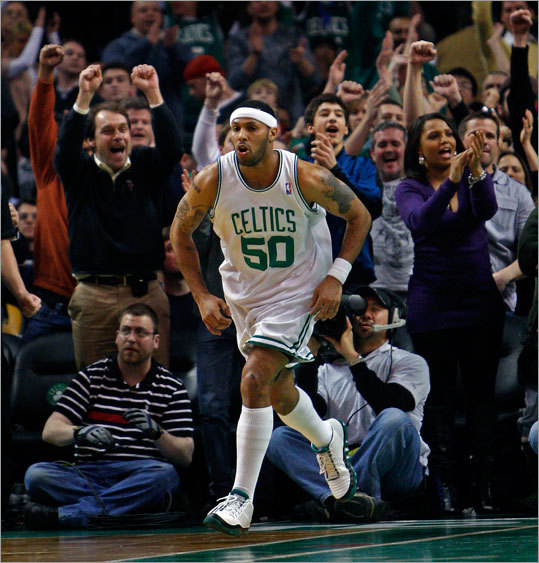 Eddie House brought the crowd to its feet when he scored on a reverse layup in the fourth quarter that put Boston ahead 93-86. The Celtics went on to defeat the Miami Heat at the TD Garden.