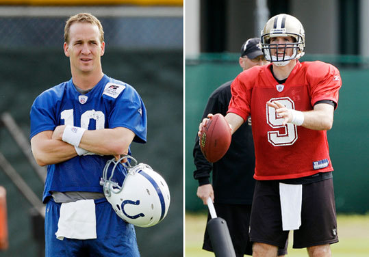 COLTS: Peyton Manning (left), Curtis Painter. SAINTS: Drew Brees (right), Mark Brunell, Chase Daniel. Brees is having a fantastic season, throwing for 4,388 yards, 34 touchdowns, 11 interceptions, and compiling a 109.6 passer rating. But he hasn't been quite the machine that Manning has been. The Colts quarterback makes opponents defend the entire field, and is more efficient than anyone else at diagnosing and attacking what the defense is throwing back at him. Against the Jets' top-ranked defense in the AFC title game, Manning threw for 377 yards and surmounted a 17-6 deficit by leading the Colts to 24 unanswered points. But what may really separate these guys is that there are ways to get to Brees and knock him around. Edge: Colts