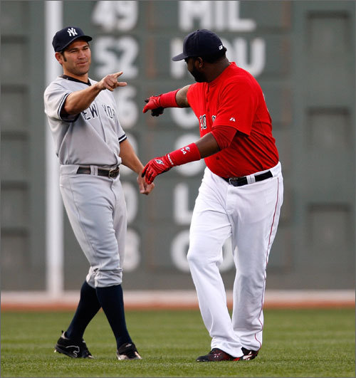 May 1, 2006 David Ortiz and other former teammates are always receptive to seeing the outfielder return to Fenway Park.