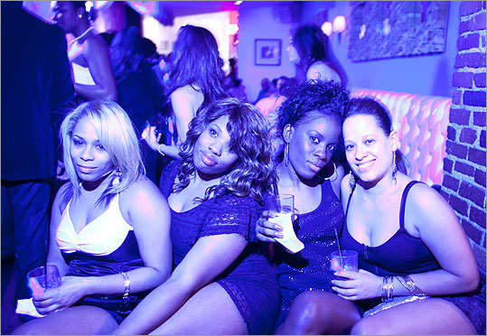 From left, Tenia, Sunita Williams, Ursula Charles, and May Sosa at District Lounge.