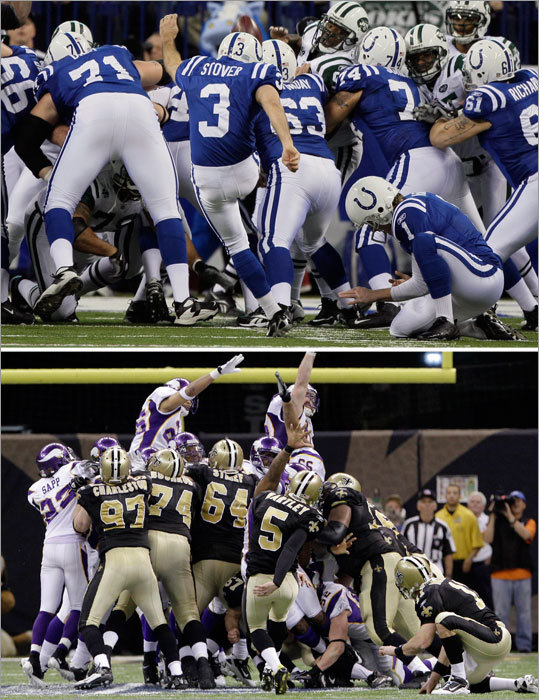 COLTS: Pat McAfee, Matt Stover (top), Adam Vinatieri, Chad Simpson, T.J. Rushing. SAINTS: Garrett Hartley (bottom), Jason Kyle, Thomas Morstead, Courtney Roby, Reggie Bush. The Saints offense may get the credit for the drive in overtime against Minnesota, but it was the special teams that should've been lauded. Roby had a 41-yard kickoff return that set the Saints up to have to drive all of 38 yards for Hartley's 40-yard game-winning field goal. New Orleans gets the edge here because Roby has been reliable on kick returns and Bush always has the potential to take a punt all the way. Both teams have been spotty in coverage over the course of the year, so the return game is worth watching. EDGE: Saints