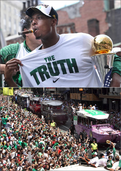 Pierce and his teammates fully embraced the goal they had worked so hard for. For each member of the Big 3 it was their first NBA championship, but for the Celtics it was the organization's 17th. Celtic supporters showed their love for their team during the celebratory duck boat parade.