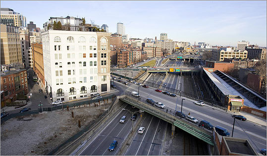 The Columbus Center project, now abandoned, was to be built over part of the Massachusetts Turnpike. This is an overhead view from the parking garage on Clarendon Street.