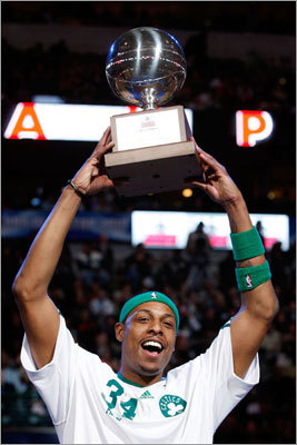 Pierce represented the Celtics last year in the 3-point shootout during the NBA's All-Star Weekend. Pierce won the contest in a bit of an upset, besting Stephen Curry from the Warriors and Denver's Chauncey Billups. But even though Pierce was the first Celtic to win the contest since Larry Bird, he's not among the top 10 Celtics in of all-time in terms of three-point percentages.