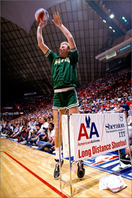 Larry Bird 3PM: 649 3PA: 1,727 3P%: .376 Games: 897 Bird attempted the most threes in Celtics history, and ranks high on the team's list of three-point leaders. He's the seventh-best 3-point shooter for Boston, winning the first three competitions ever held in 1986, 1987, and 1988.