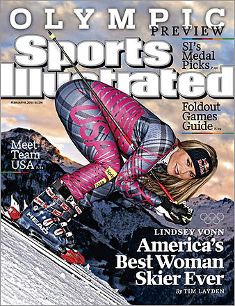 As mentioned, skier Lindsey Vonn was featured on the cover of the Feb. 8, 2010, issue. Days later, true to form, Vonn announced that she may not be able to compete in the upcoming Olympics due to a deep leg muscle bruise.