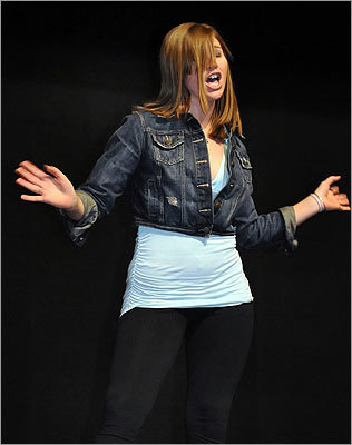 "Miranda Rich, a student at Hanover High School who was in the theater's production of ""Footloose,'' hid her nerves with a confident stride and a sassy attitude as she auditioned for the equally charismatic Maureen. ""I was shaking. You never know what the directors are thinking,'' she said."
