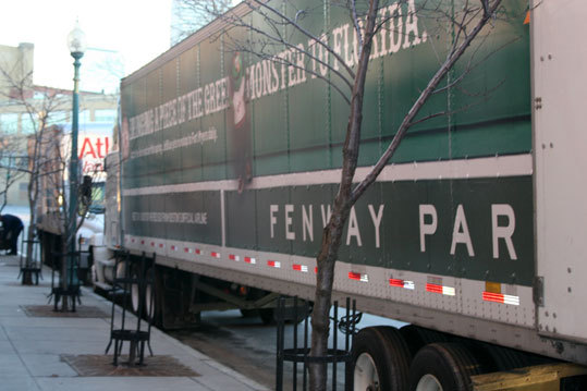 The truck waited outside the Sox clubhouse as club workers prepped and loaded all the equipment going to Fort Meyers.