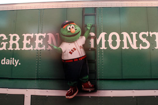 An illustration of Wally the Green Monster is part of the new truck wrap from the Red Sox' Truck Day partner, Jet Blue.