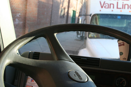 The view from behind the wheel of the big rig.