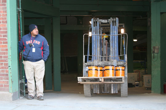 Beyond the moving and packing, there was also ongoing construction as Fenway Park gets in shape for another baseball season.