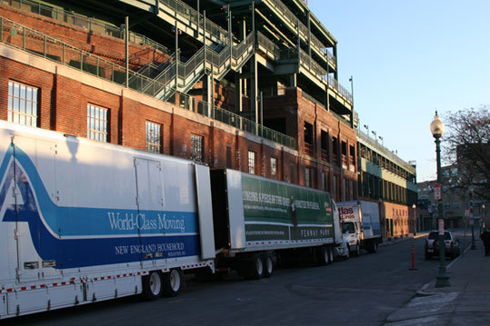 There were actually three trucks outside Fenway this morning, but only two will be making the trek to Florida. One of the 18-wheelers will carry Red Sox gear. The other will be loaded with household items.