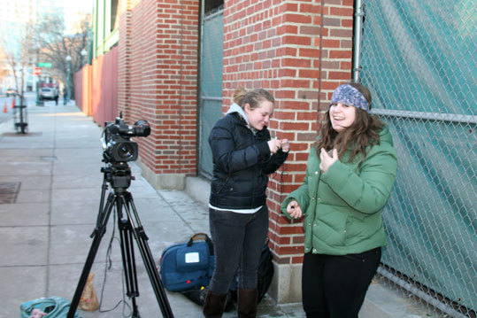 Ashley Chaney (left) and Hannah Poster, from Emerson College, were on hand for the early part of Truck Day as they prepared to shoot some video for a class assignment.