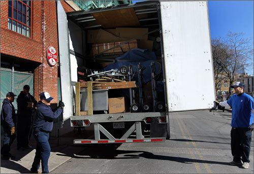 The truck was packed to capacity with the Red Sox equipment.