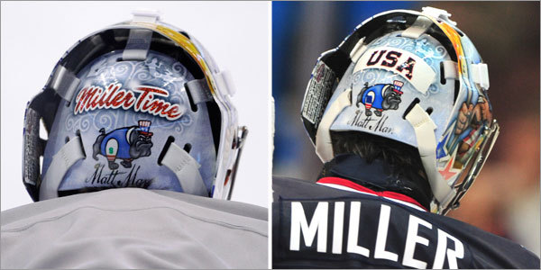 US goalie Ryan Miller was ordered to cover the 'Miller Time' inscription on his custom helmet for the duration of the Olympics.