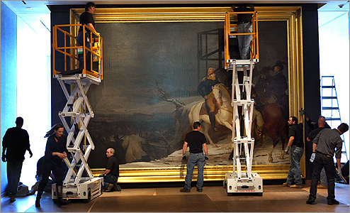 "The Museum of Fine Arts has installed the first painting in its new Art of the Americas Wing, Thomas Sully's masterpiece ""The Passage of the Delaware.'' Originally commissioned by the state of North Carolina in 1819, the painting shows General George Washington on the banks of the Delaware River. This is the first time in more than 100 years that the frame and the painting have been together."