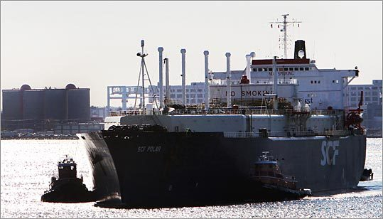 An LNG tanker makes its way through Boston Harbor.