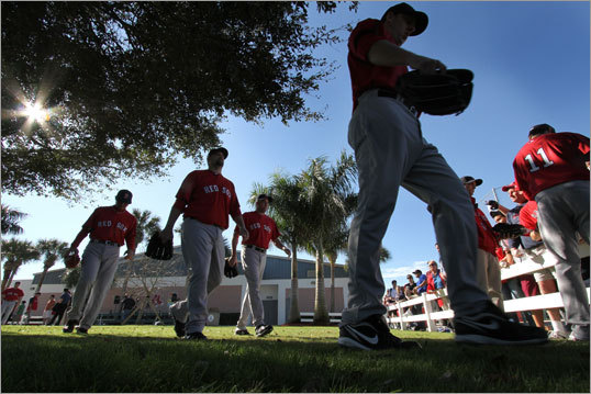 Red Sox players took to the fields for workouts Sunday in Fort Myers.