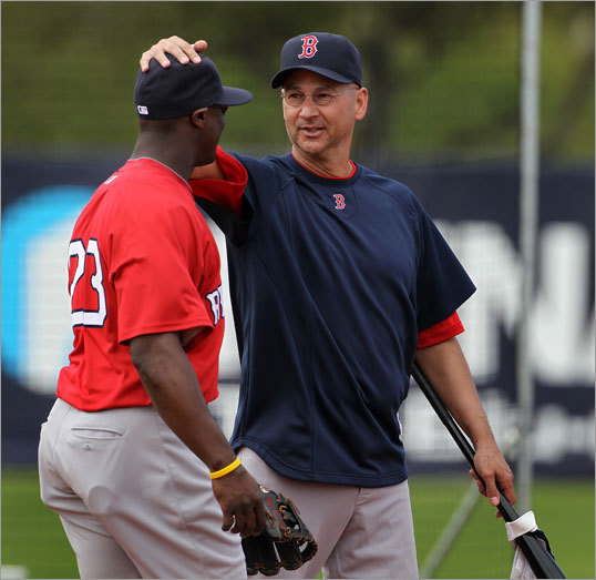 Sox manager Terry Francona made sure Mike Cameron felt welcome with his new team.