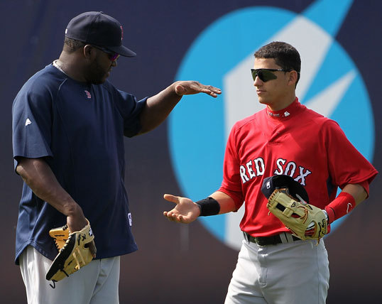 David Ortiz greeted Sox shortstop prospect Jose Iglesias.