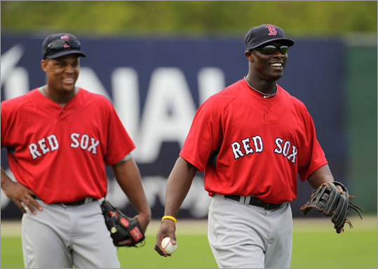 Third baseman Adrian Beltre (left) and outfielder Mike Cameron are two of the new guys at Red Sox spring training.