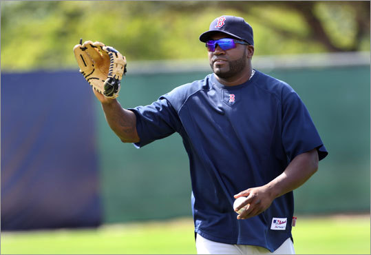 David Ortiz spent some time practicing fielding on Monday.
