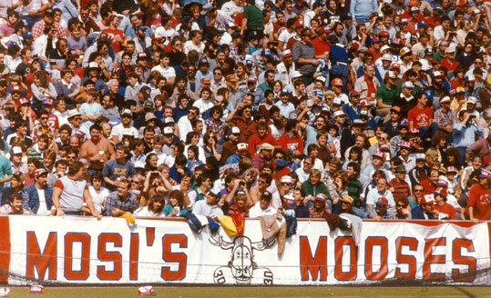 A section of fans called themselves 'Mosi's Mooses,' at home games in Foxborough.