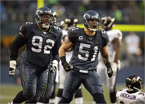 The Tatupu legacy lives on. Lofa was an All-American at the University of Southern California (where Mosi played, too). Lofa now plays middle linebacker for the Seattle Seahawks. Pictured: Tatupu in 2007 in a game against the Ravens.