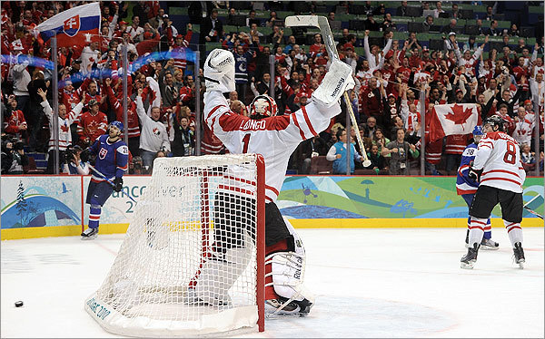 Goalie Roberto Luongo rejoiced as Canada hung on to defeat Slovakia 3-2 Friday night in men's ice hockey, setting up Sunday's rematch with the US for the gold medal.