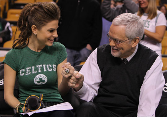 Today Show correspondent, and Medford native, Maria Menounos got some pregame tips from long-time Celtics announcer Mike Gorman before the Celtics began play against the New Jersey Nets Saturday.