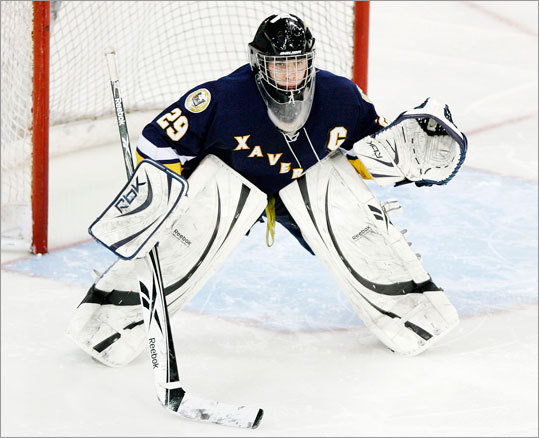 Xaverian's Kyle Macdonald focused on the action while playing Austin Prep on Saturday, February 27th, 2010.