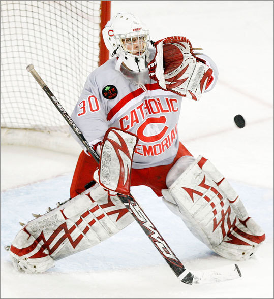 Catholic Memorial's Tommy Knox mad a save during action against Winchester on Saturday, February 27th, 2010.