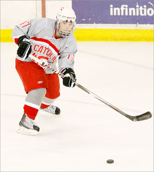 Catholic Memorial's Vinny Repucci made a pass during action against Winchester on Saturday, February 27th, 2010.