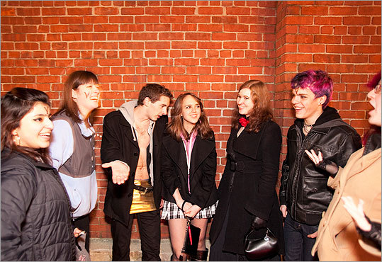 Dammit, Janet! The Full Body Cast screens the 'Rocky Horror Picture Show' every Saturday at the Harvard Square AMC Theatre, complete with props, fishnets, and ribald skits. That's a lot of toilet paper, rubber gloves, and pieces of toast. See who stopped by the festivities on a recent night. Pictured: Students from Bentley College waited to get into the theater. 'Bentley is a conservative school,' said one student, 'three out of the six people on campus who dye their hair are here.'