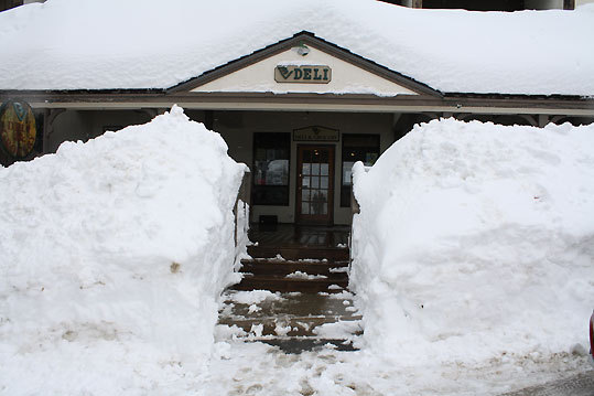 The deli at Bolton Valley in Waterbury, Vt., was buried beneath more than four feet of new snow.