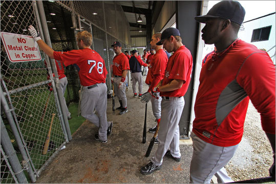A morning rain forced the Red Sox to take batting practice indoors on Tuesday, the final day the major-league players spent at the player development complex.